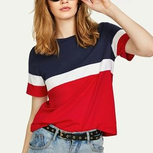 BRAND NEW Shein Cut and Sew Tee Red White Blue